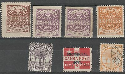"""SAMOA - Five mint hinged and two used. Sold """"as is"""""""