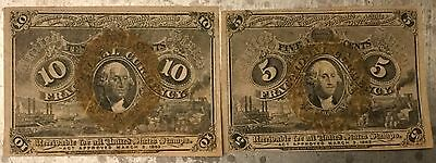 1863 10 and 5 CENT FRACTIONAL CURRENCY 2 NOTES