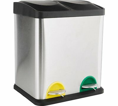 HOME 30 Litre Recycling Pedal Bin with 2 Compartments Foot Pedal Operated Great