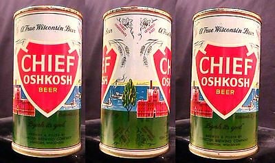 Chief Oshkosh Beer - Mid 1960's - 12Oz Keglined Juice Tab Can - Super Clean