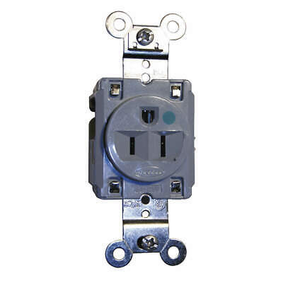 HUBBELL WIRING DEVICE-KELLEMS Receptacle,Single,15A,5-15R,125V,Gray, HBL8210GY