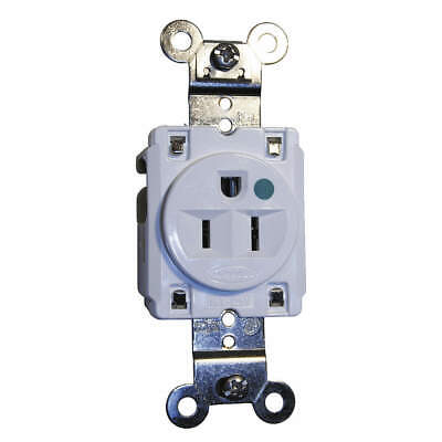 HUBBELL WIRING DEVICE-KELLEMS Receptacle,Single,15A,5-15R,125V,White, HBL8210W