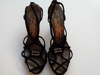 1940,s vintage black suede/diamante dancing shoes. Very Betty Grable!Size 5 1/2
