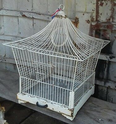 A vintage French sourced 'marquee shape' bird cage white metal ornate wirework!!