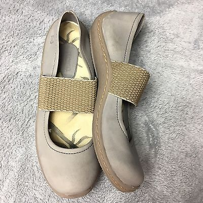 BORN Beige Leather Mary Janes Flats Slip On Sneakers Women's Shoes 8 / 39