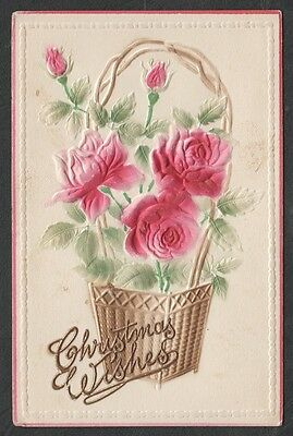 """k3021)    EARLY 1900's EMBOSSED GREETINGS POSTCARD: """"  CHRISTMAS WISHES """""""