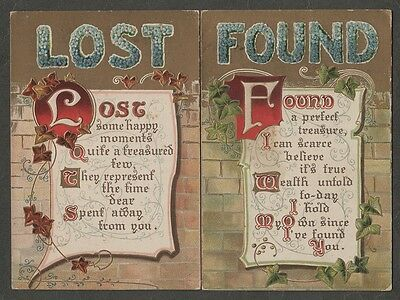 """k3371)       EARLY 1900'S GREETINGS POSTCARDS  """" LOST and FOUND """""""