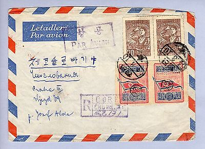 Korea Air Mail, Chong-Jin (54-8-10) to Praha, Sc.42 seldom seen pair use ! (06)