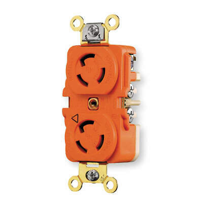 HUBBELL WIRING D Thermoplastic Locking Receptacle,Industrial,15, IG4700A, Orange