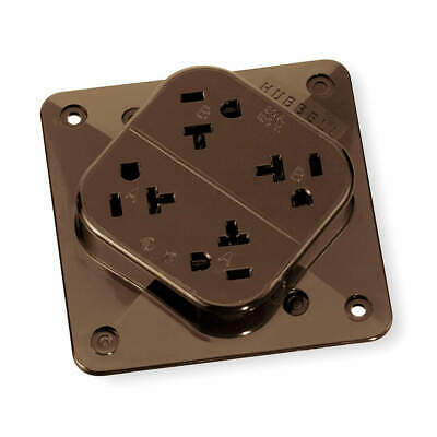 HUBBELL WIRING DEVICE Polycarbonate Receptacle,Quad,20A,5-20R,125V,Brown, HBL420