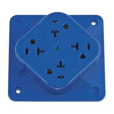 HUBBELL WIRING DEVICE Polycarbonate Receptacle,Quad,20A,5-20R,125V,Blue, HBL420S