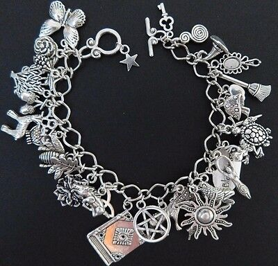 Pagan Wicca Charm Bracelet - Fully Loaded with 32 charms - Sanguine Rose Designs
