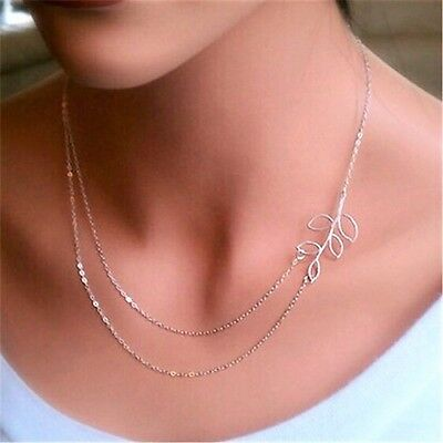 NEW Tree Leaf Pendant Charm Double Necklace Silver Chain Women Fashion Jewelry