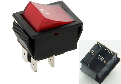 Rocker Switch 16A 240V, 20A 125V RED ON-OFF Double Pole 4 Pin  ILLUMINATED C4