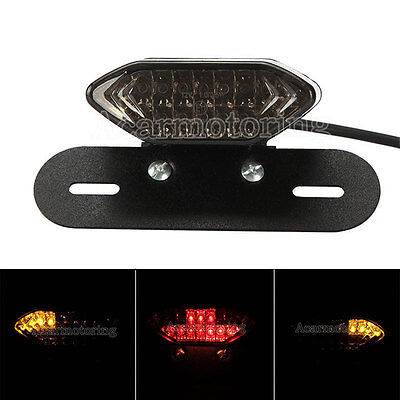 Led License Plate Mount Turn Signals Tail Light For Bobber Cafe Racer Atv New