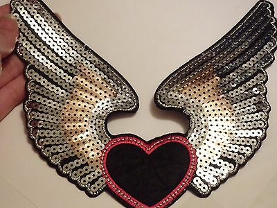 large wing heart patches patch sequin applique embroidered iron on sew on motif