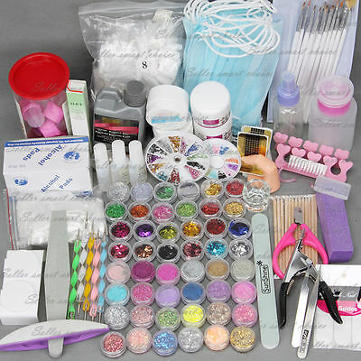 Nail Art Care Set 48pc Acrylic Powder UV Gel Manicure DIY Tips Polish Brush Kit