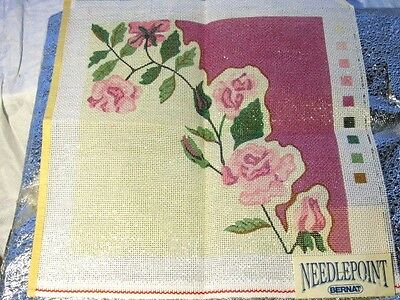 "BERNAT  Needlepoint CANVAS #63012  TRAILING ROSES  12x12""  Pillow Chair Seat"