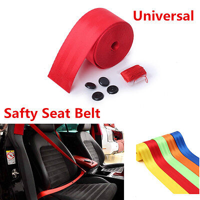 UNIVERSAL 380CM RED Harness Racing 3 Point Safety Retractable Car Seat Lap  Belt