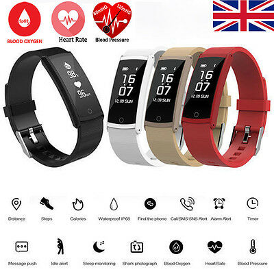 S6 Bluetooth Smart Watch Blood Oxygen/Pressure Heart Rate Monitor Pedometer UK