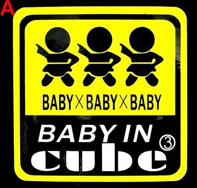 HI-VIS Reflect Baby in Car Baby On Board Safety Warning Sign Decal Car Sticker