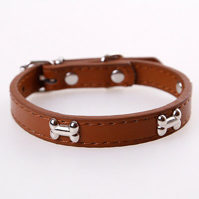 1Pc Adjustable Dog Bone Collar PU Leather Pet Puppy Cat Strap Collar S M L