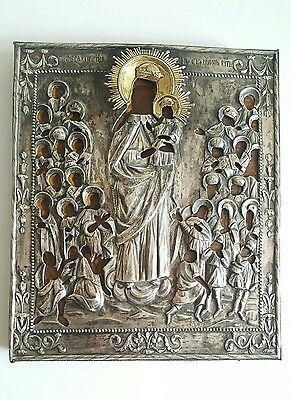 Rare Antique 18C Russian Silver Oklad Icon Mother of God