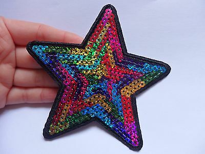 large sequin patches star multi colored patch applique iron on sew on motif