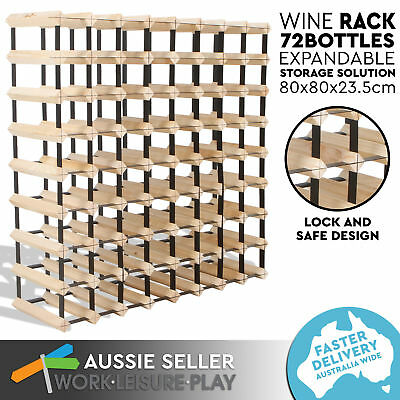 New 72 Bottle Wooden Metal Wine Rack Natural Wood Cellar Organiser Timber Stand