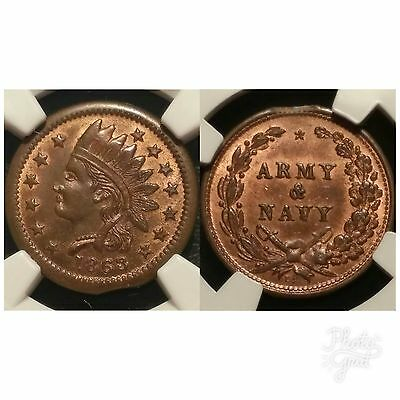 1863 Civil War Token F-91/303a Indian / Army & Navy NGC MS 64 RB