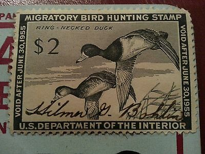 2 Pennsylvania Hunting Licenses 1954 1955 Migratory Bird Stamp + Button!!