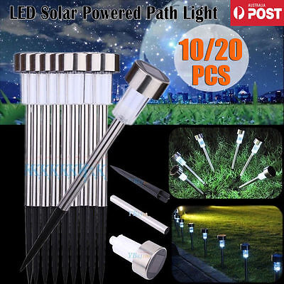 AU 10/20Pcs Solar LED Stainless Steel Garden White Lights Path Lamp Lane Outdoor