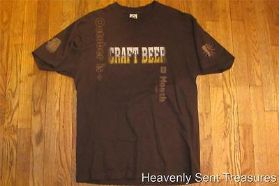 October is CRAFT BEER Month Brown T-Shirt L Original Brewers 'Get Your Craft On'