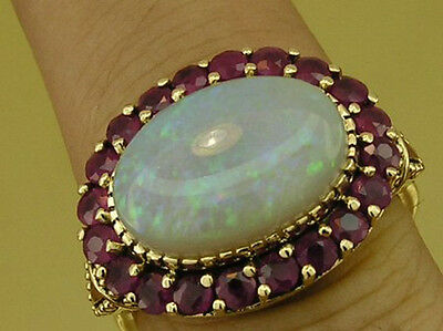 CR970- Genuine 9ct Solid Gold LARGE Natural OPAL & RUBY Cluster Ring in yr size