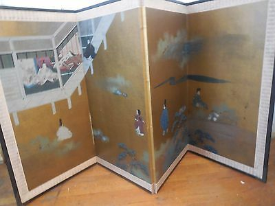 4 Panel Japanese Silk Screen from mid 20th century