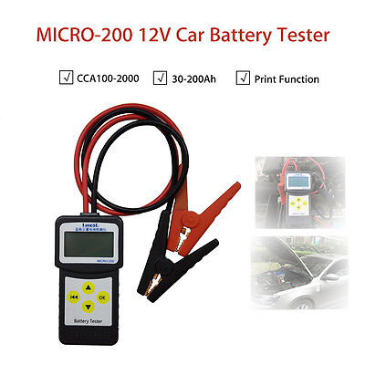MICRO-200 12V Auto Car Battery Load Tester Analyzer W/Printer Function 7-30VDC V