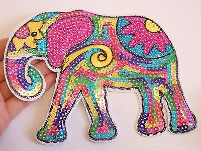 extra large sequin patches elephant patch applique iron on sew on motif sewing