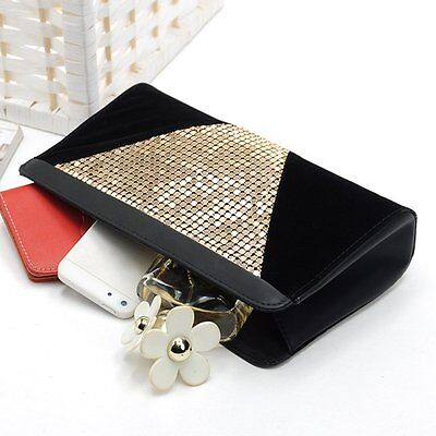 Fashion Womens Clutch Bling Makeup Bag Evening Party Handbag Button Tote Purse