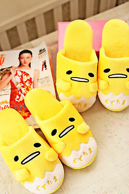 Gudetama yellow egg plush indoor antiskid shoes slippers one pair TL09 WARM