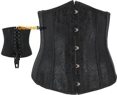 Black Underbust Corset Contoured Pointed Bust Lace Up Fully Boned Cincher Shaper
