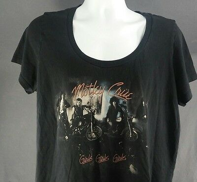 Motley Crue Girls Girls Girls offical Womens wide neck Large T Shirt