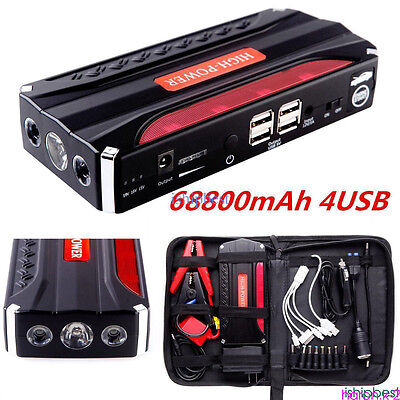 68800mAh Portable Car Jump Starter Pack Booster Battery Charger 4USB Power Bank