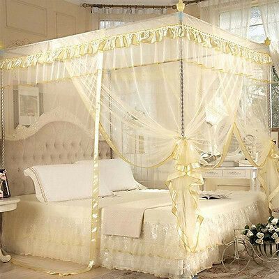 Lace Bed Mosquito Netting Mesh Four Corner Canopy Net King/Super King Size +Rack