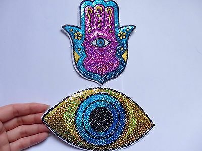 2 extra large sequin patches evil eye hamsa hand patch applique iron on sew on