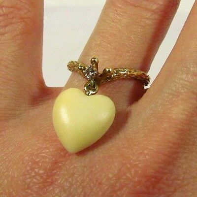 Vintage 14K Yellow Gold Wood Grain Crown Heart Diamond Claddagh Ring, size 6