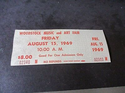 ORIGINAL WOODSTOCK TICKET August 15, 1969 Friday (First Day) Peace Love  D33