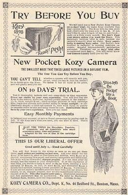 Original 1898 Full Page Illustrated Advertisement for The New Pocket Kozy Camera
