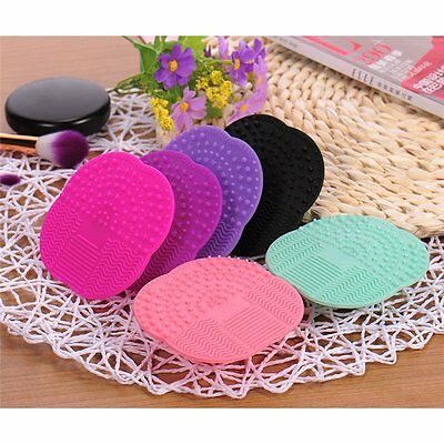 Silicone Makeup Brush Cleaner Pad Washing Scrubber Cleaning Mat Hand Tool UU