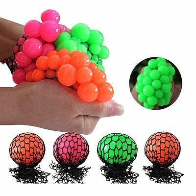 5cm Anti Stress Face Reliever Squishy Mesh Ball Grape Healthy Toy Gift UU