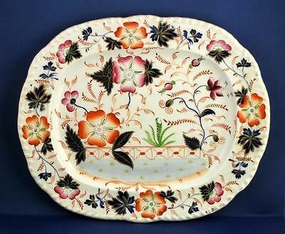 A Bright Antique Victorian Handpainted Imari Style Serving Platter - No Marks